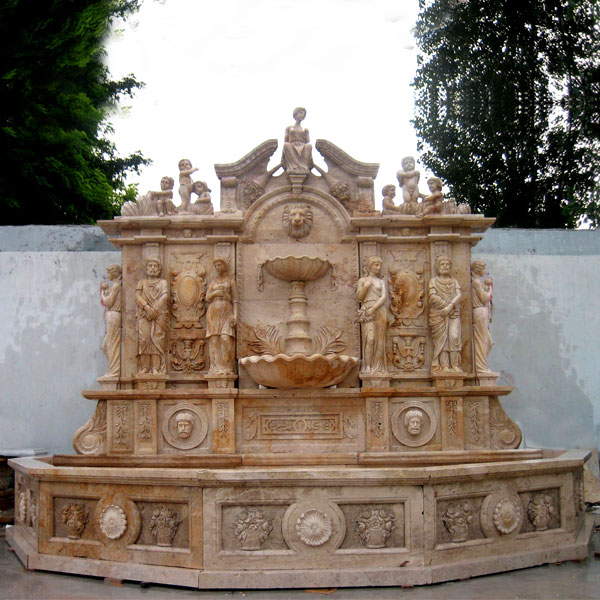 Antique luxury lion head garden water marble wall fountain with basin ideas for sale MOKK-18