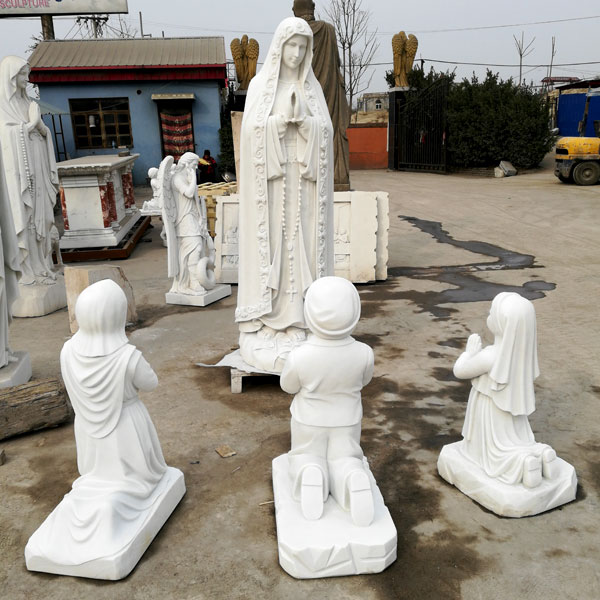 Catholic Saint Marble Garden Statues Our Lady Of Fatima With Three Shepherd  For Church Decor
