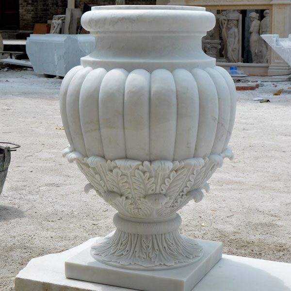Indoor white marble urn pots for patio decor