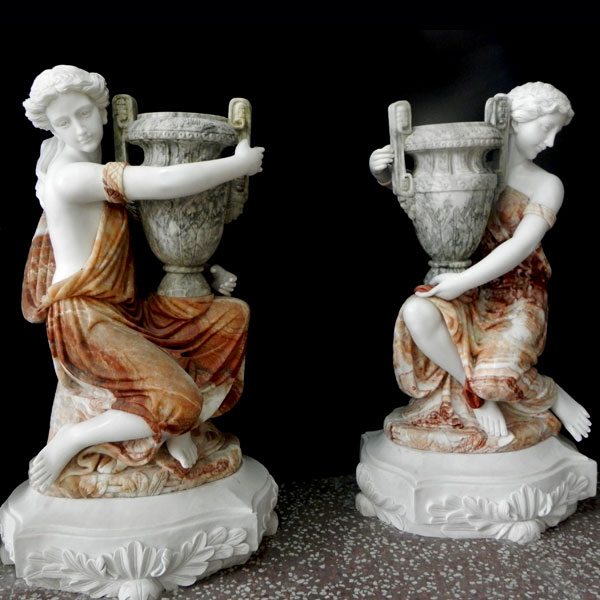 Large decoration multi color marble planters with beautiful lady statues for interior home TMP-04