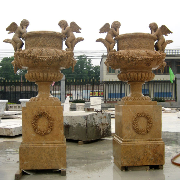 Large garden marble flower planter pots with base in pairs sale TMP-13