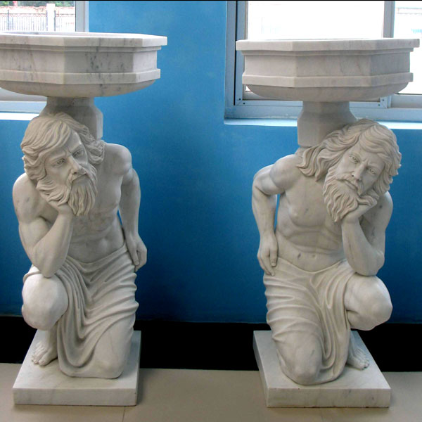Large white marble planter pots with man statues a pair for home garden ornaments