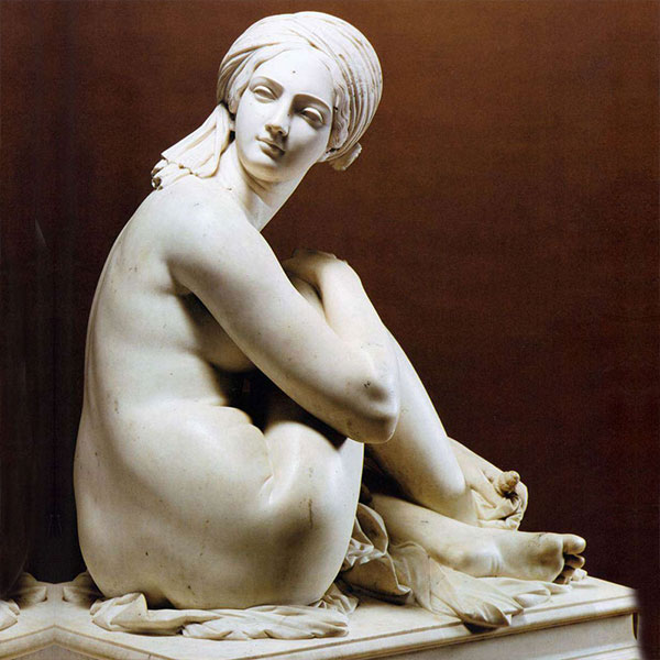 Life size famous hand carved garden marble art figure James Pradier's Odalisque replica for sale TMC-01