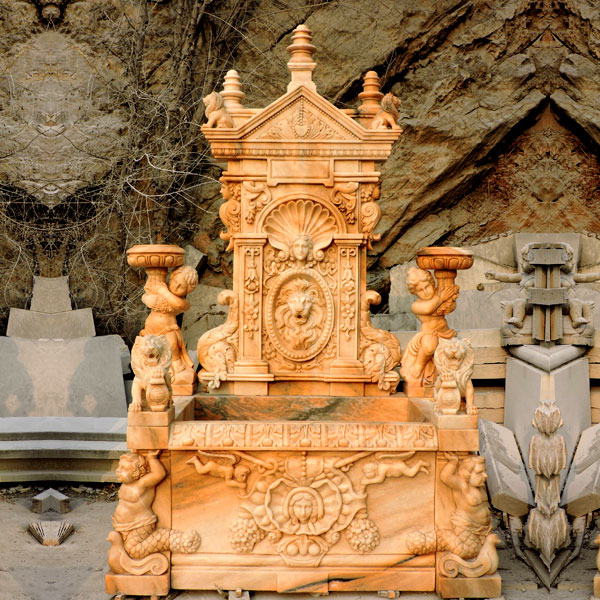 Luxury lion head wall garden marble water fountain ideas outdoor TMF-17
