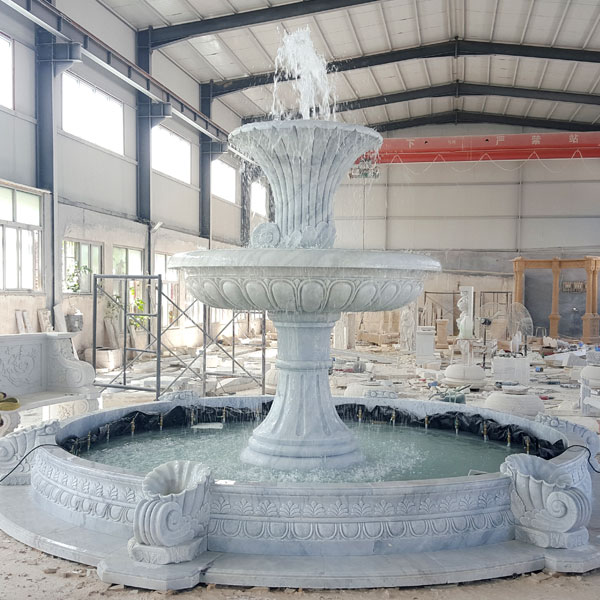 Outdoor 2 tiers white marble water fountain for the entrance of community