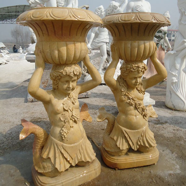 Outdoor garden decorated marble stone flower pots with mermaid statues price TMP-010
