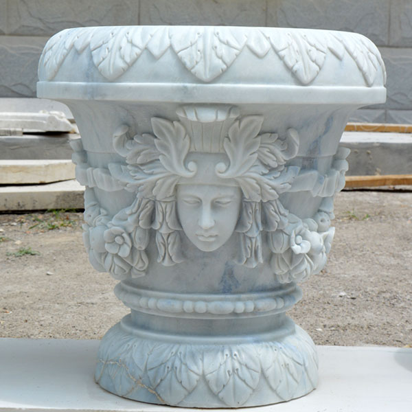 Outdoor garden white marble flower planter pots with woman face decor for sale TMP-016