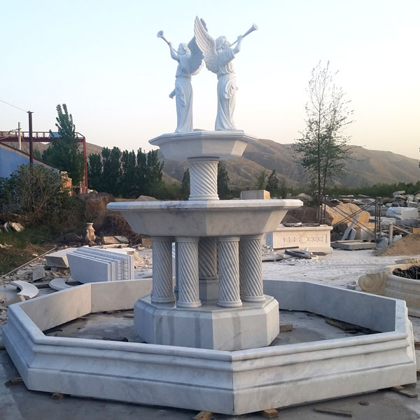 Outdoor tiered columns garden water fountain with bernini angel statues for sale MOKK-08