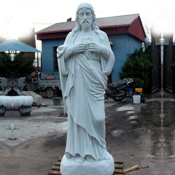 Sacred heart of jesus catholic marble statues for religious garden TCH-08