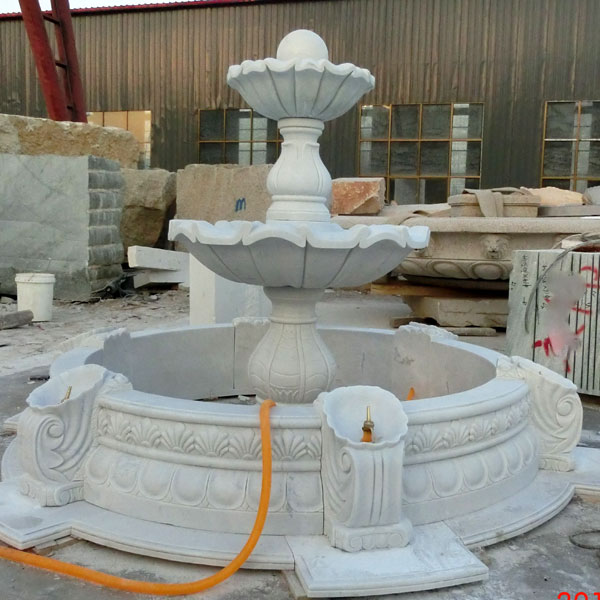 Three tiers white marble water fountain for the center of garden ornaments TMF-09