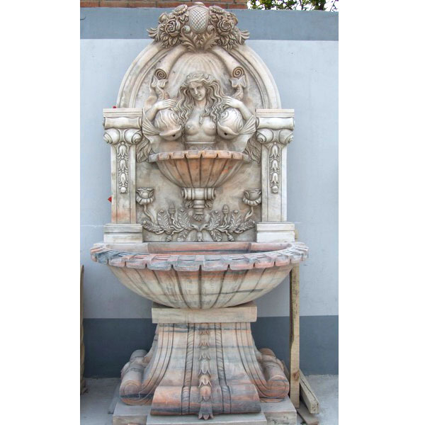 Wall mounted marble water fountain with woman statues designs outdoor MOKK-16