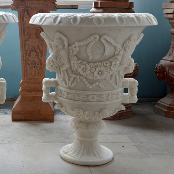 White marble carving flower pots for outdoor entrance of the home garden TMP-014