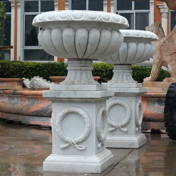 Classical design white marble flower planter for outdoor garden TMP-01