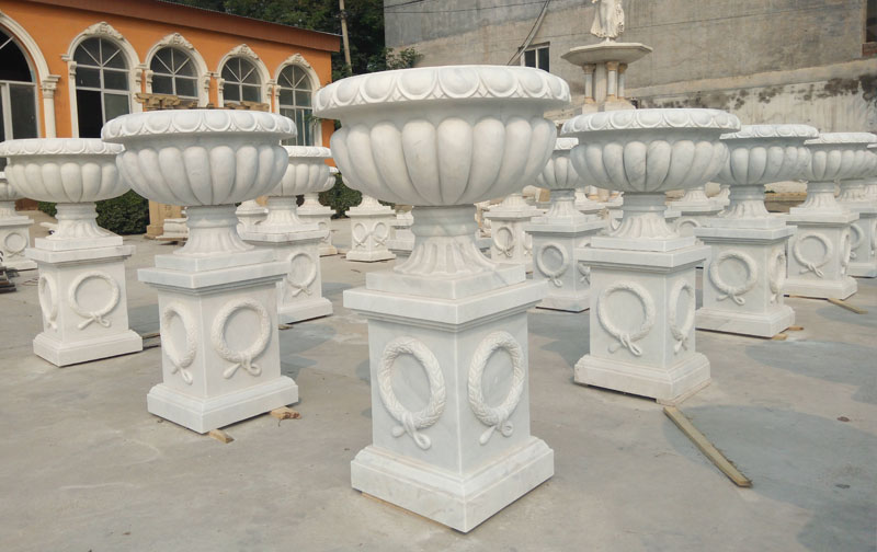 White marble flower planter wholesale