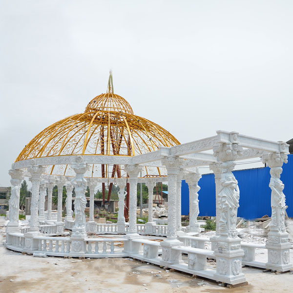 Large pure white marble custom made luxury gazebo for British customer garden decoration TMG-13