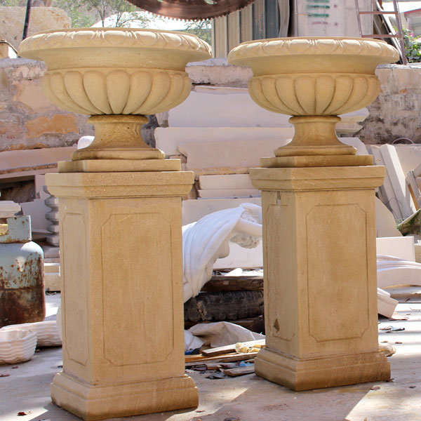 Antique beige marble large flower pot with base for garden decor TMP-017