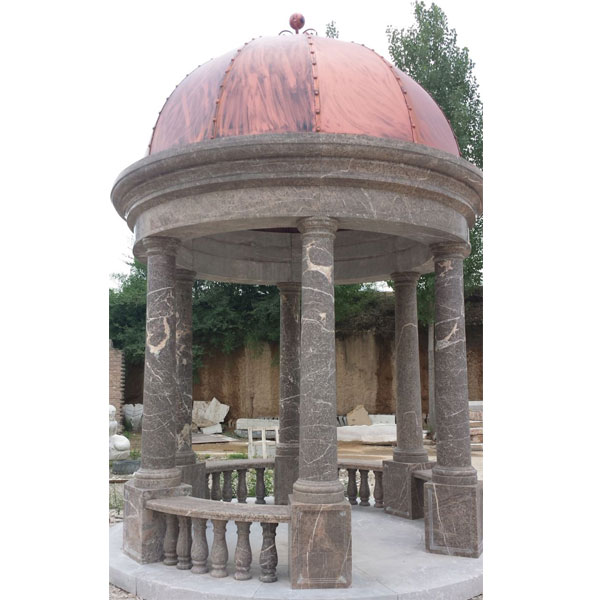 Antique Italian marble gazebo for outdoor garden decor TMG-04
