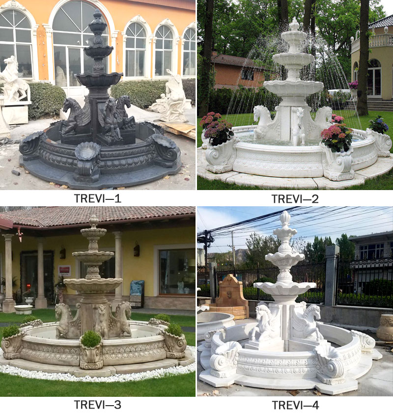Antique Marble Outdoor Garden Water Fountains with horse statues designs