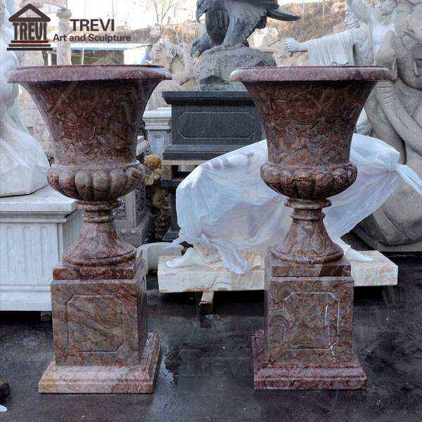 Antique Red Marble Large Garden Flower Pots sale TMP-06