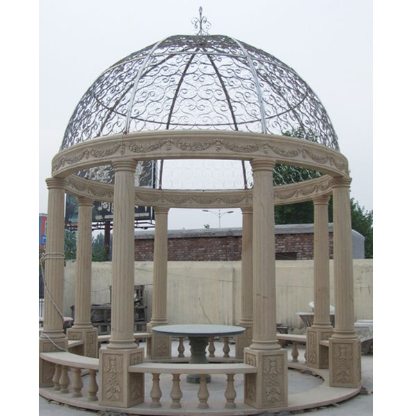 Antique marble round pavilion with iron roof for backyard outdoor decor TMG-03