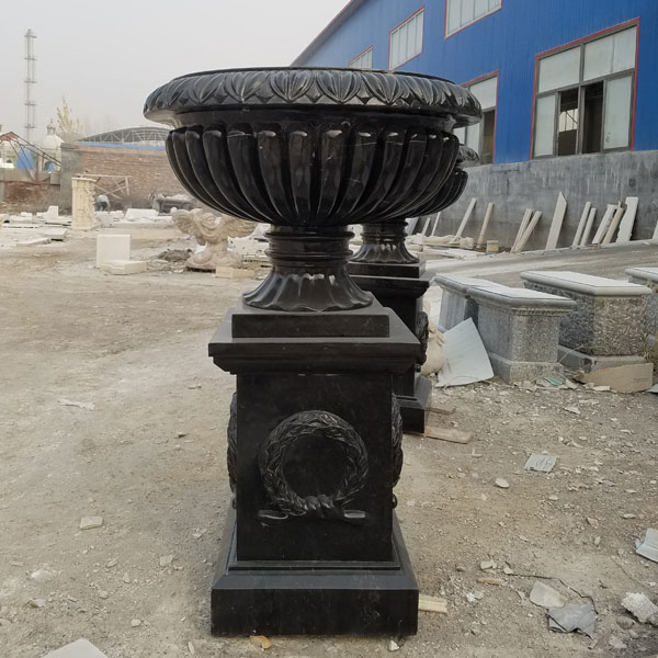 Black marble outdoor garden flower pots factory supply TMP-018