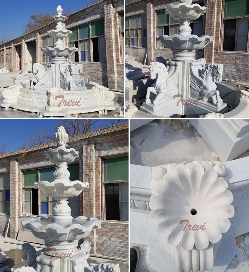 Details of white marble horse water fountain for outdoor garden ornaments