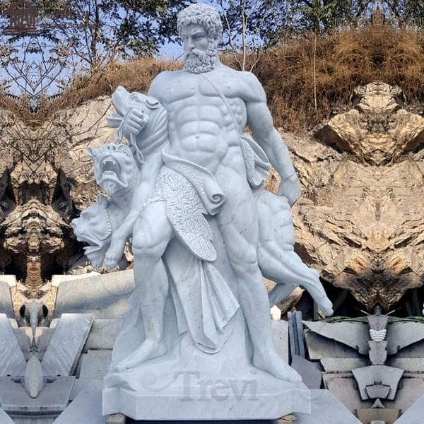 Outdoor life-size marble Hercules and Cerberus garden statues MOKK-74