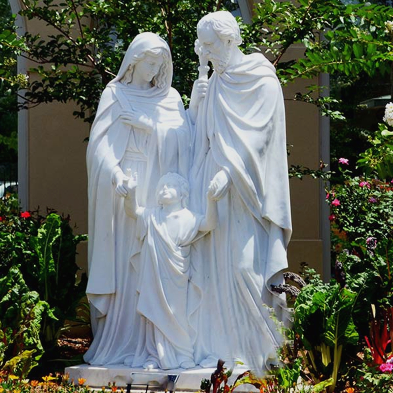 Holy Family White Marble Statues