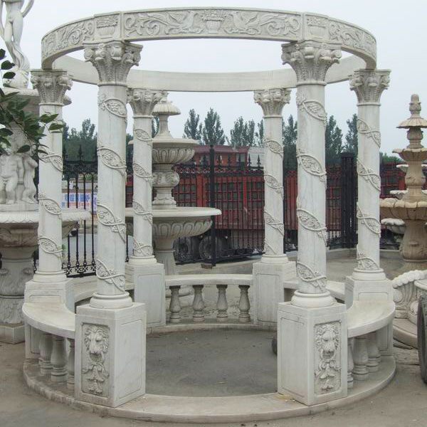 Italian design white marble garden pavilion to buy TMG-07