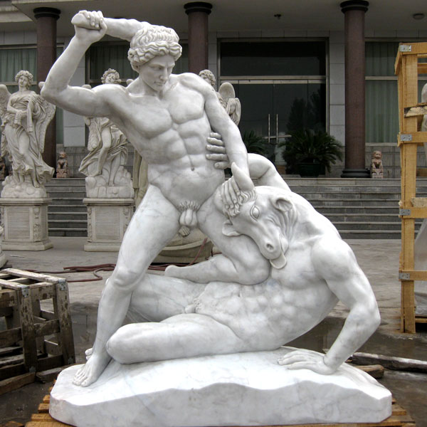 Life Size Marble Garden Decor Hercules And Minotaur Statue for Sale MOKK-78