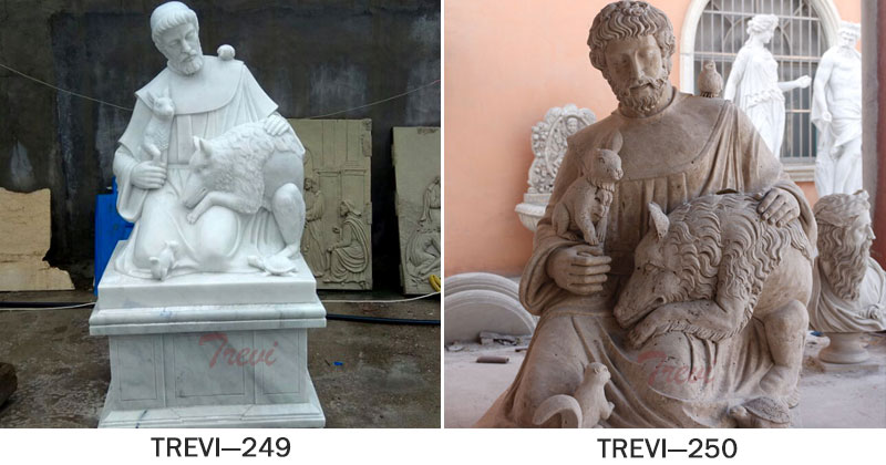 Outdoor catholic saint statues of St Francis for churches designs