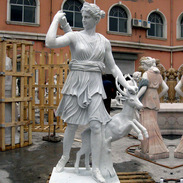 Outdoor garden decor marble life size artemis diana statue with stag for sale TCH-09