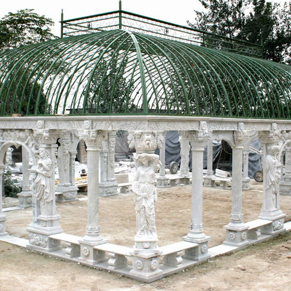 Buy outdoor luxury white marble pavilion with wrought iron dome for hotel TMG-09