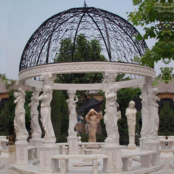 Outdoor yard decor antique marble gazebos with round dome for sale