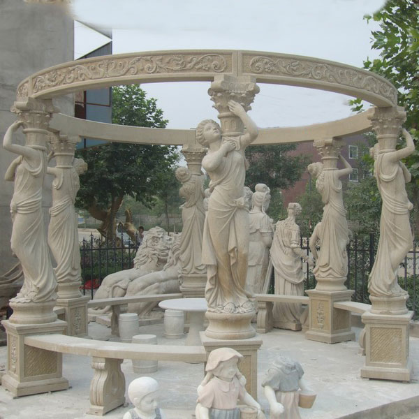 Retro decorative pavilion with lady statues and benches for outdoor garden decor TMG-05