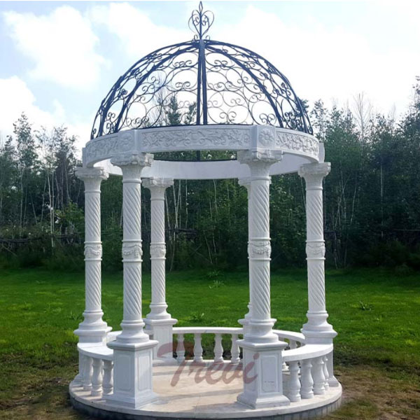 White marble hotel gazebo with metal top designs for sale TMG-16