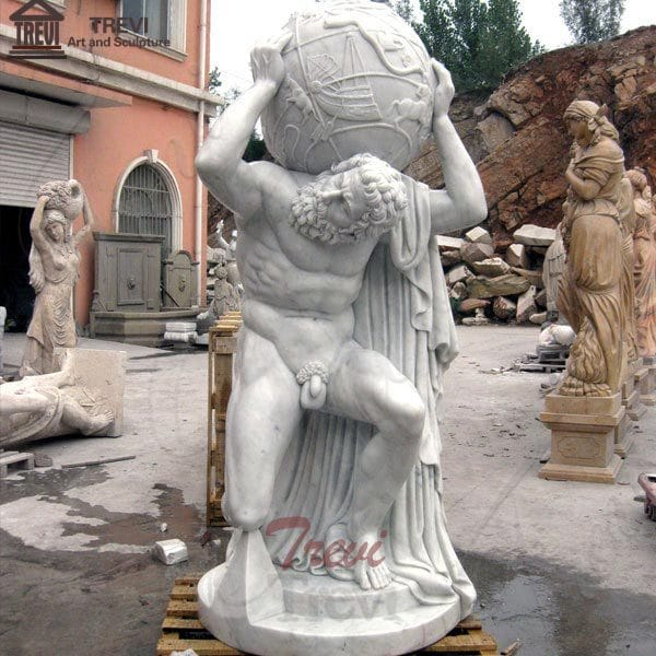 World-famous garden statues life-size marble Farnese Atlas outdoor decor MOKK-80