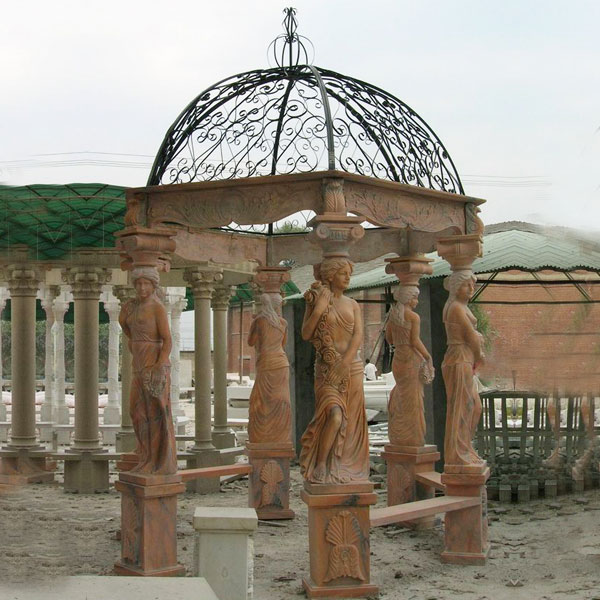 Outdoor patio sunset red marble garden gazebo with stone woman pillars for sale TMG-06