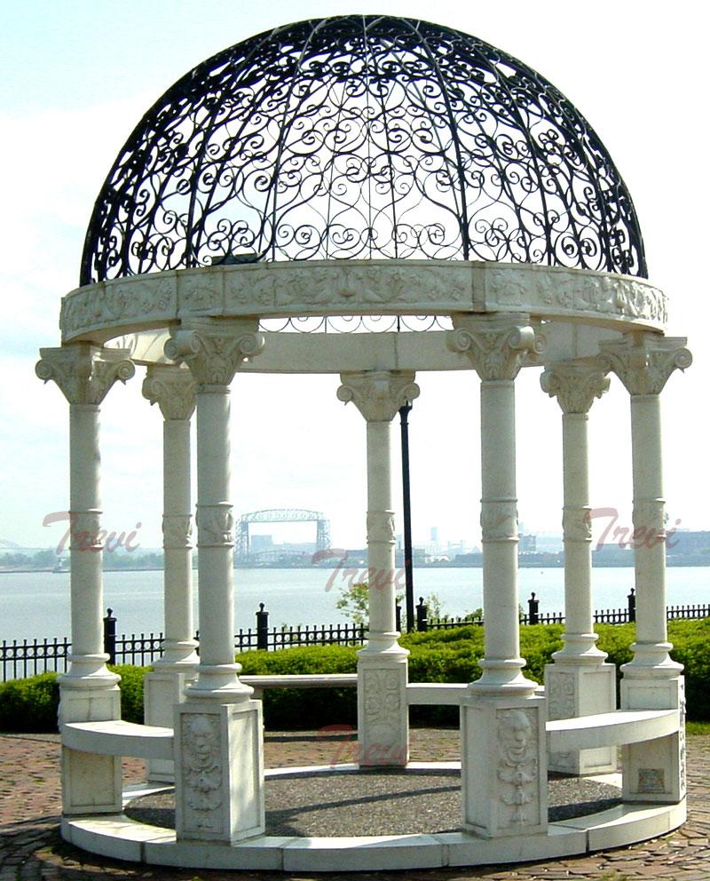 Buy outdoor white marble stone round decorative garden gazebos design for sale