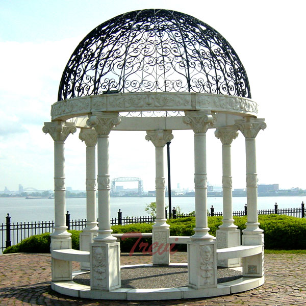 Buy outdoor white marble stone round decorative garden gazebos for sale TMG-28