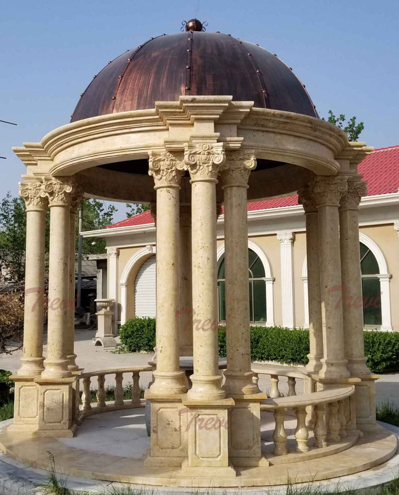 Buy round antique beige marble garden gazebo with stone pillars designs