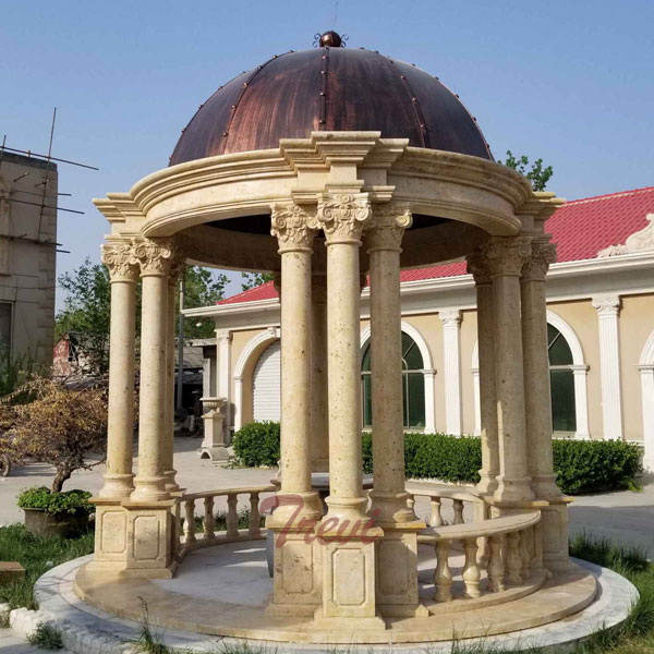 Buy round antique beige marble garden gazebo with stone pillars TMG-27