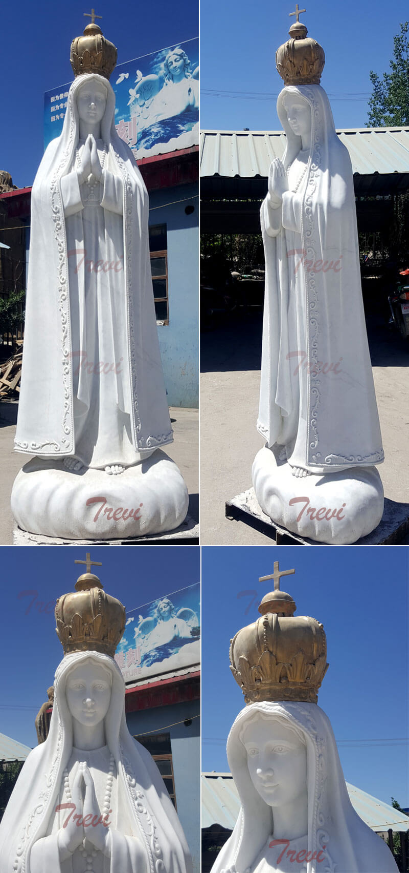 Catholic marble outdoor statues lady of fatima portugal with crown designs