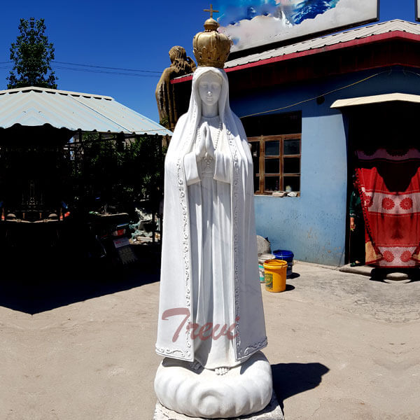 Catholic marble outdoor statues lady of fatima portugal with crown for sale