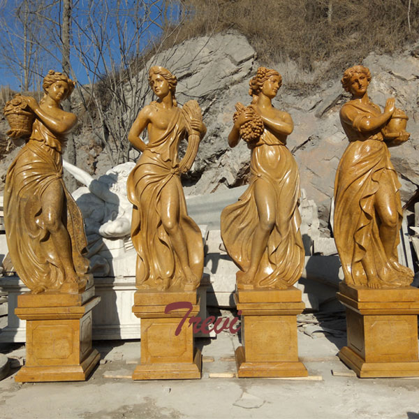 Goddesses of the four season beige marble sculptures for outdoor garden