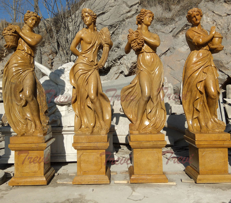 Goddesses of the four season beige marble sculptures for outdoor garden designs
