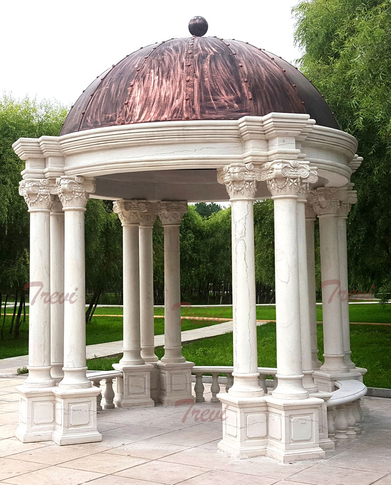 Hardtop white marble garden gazebo with pillars design