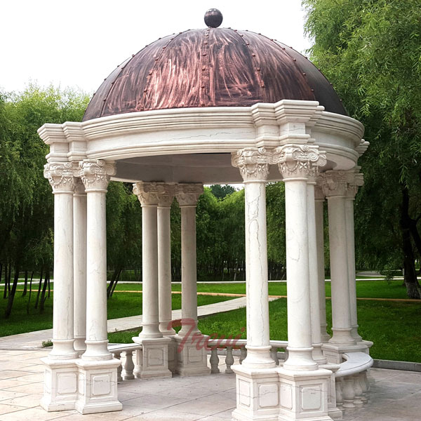 Hardtop White Marble Garden Gazebo with Pillars for Sales TMG-22