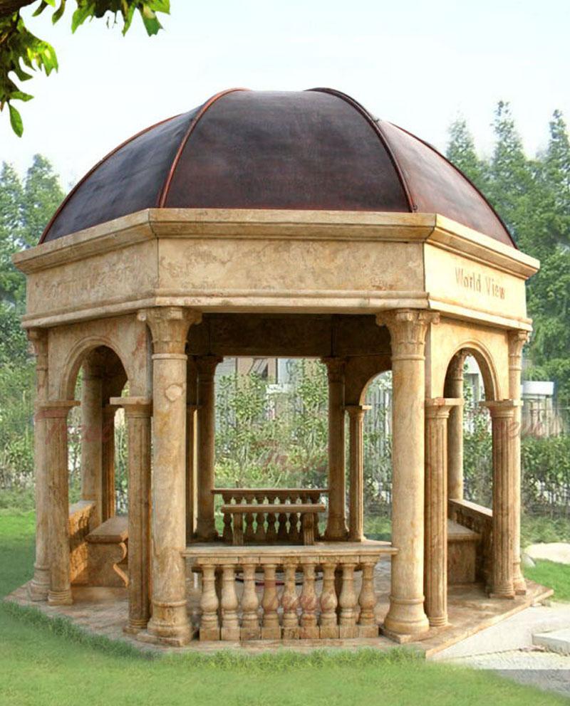 Large waterproof antique beige marble pavilion for outdoor garden designs for sale