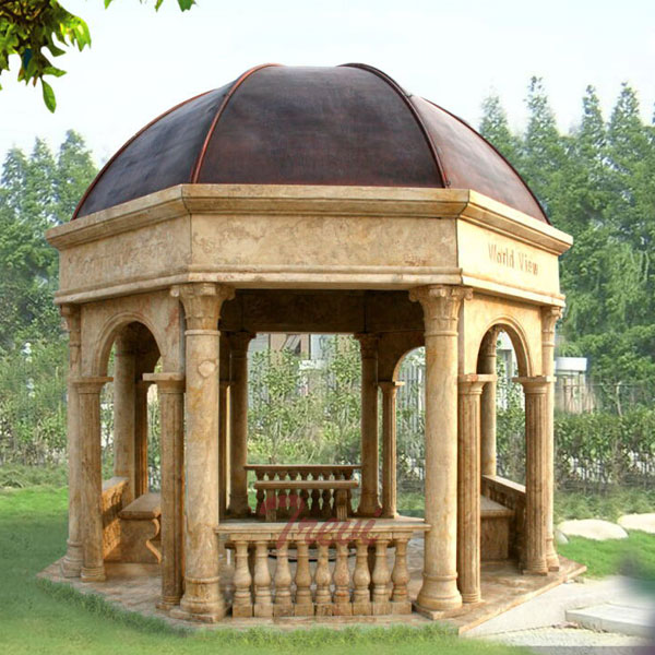 Large waterproof antique beige marble strong pavilion for outdoor garden for sale TMG-23